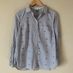 Old Navy Fox Print Classic Shirt Pin Stripe